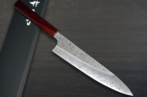Kei Kobayashi R2 Damascus Special Finished CS Japanese Chefs Gyuto Knife 210mm Black with Red Lacquered Wood Handle