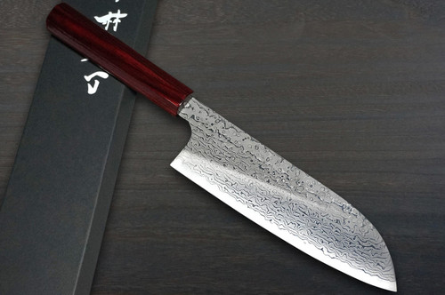 Kei Kobayashi R2 Damascus Special Finished CS Japanese Chefs Santoku Knife 170mm Black with Red Lacquered Wood Handle