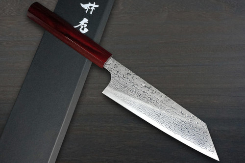 Kei Kobayashi R2 Damascus Special Finished CS Japanese Chefs Bunka Knife 170mm Black with Red Lacquered Wood Handle
