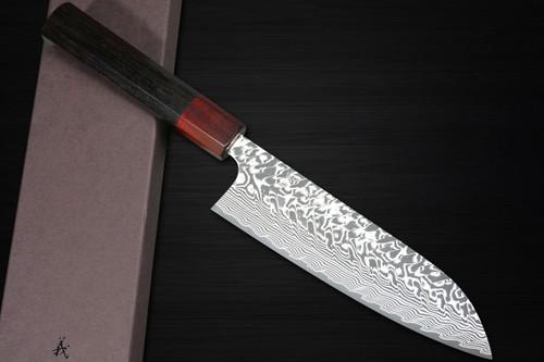 Yoshimi Kato R2 Black Damascus EB8R Japanese Chefs Santoku Knife 170mm with Red-Ring Ebony Handle