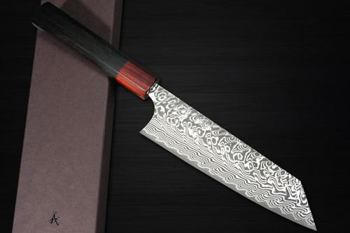 Yoshimi Kato R2 Black Damascus EB8R Japanese Chefs Bunka Knife 170mm with Red-Ring Ebony Handle