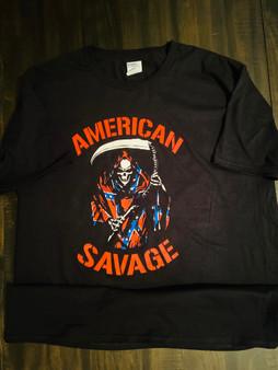 Mini Thin American Savage Album Redneck Grim Reaper Tee Shirt
