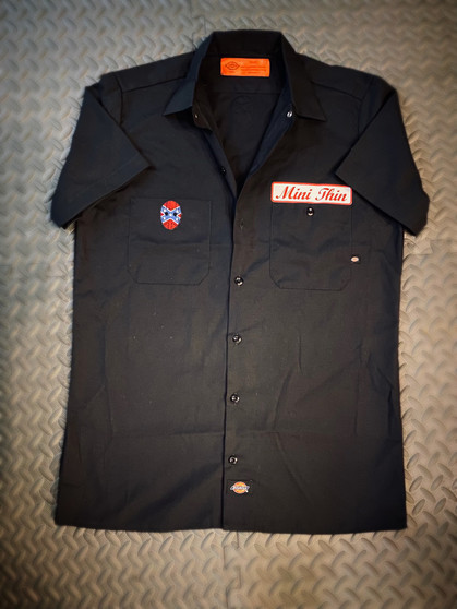 mini thin dickies work shirt with rebel flag hockey mask redneck reaper patches!