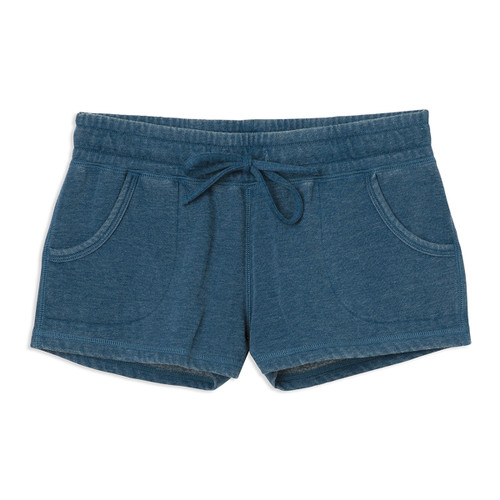 Women's RVCA AVA Fleece Short in Poseidon Blue color
