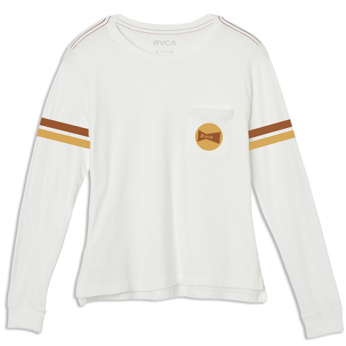 Women's RVCA Bow Tied long sleeve Tee in Vintage White color - RVCA logo on front