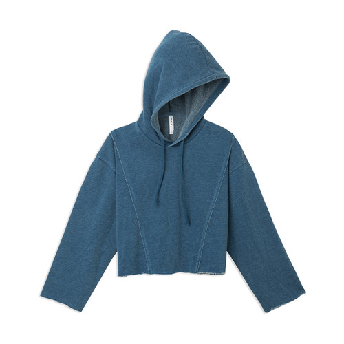 women's RVCA AVA Crop Fleece hooded sweatshirt in Poseidon Blue color