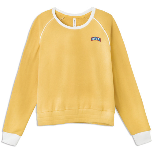 Women's RVCA Hangtown Fleece sweatshirt in mustard color