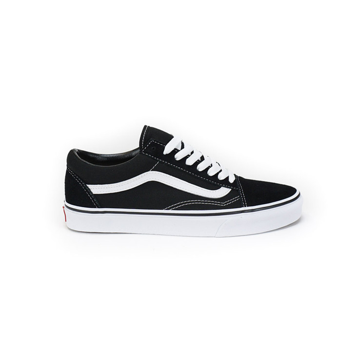Side view of Vans Old Skool in black with white logo and laces