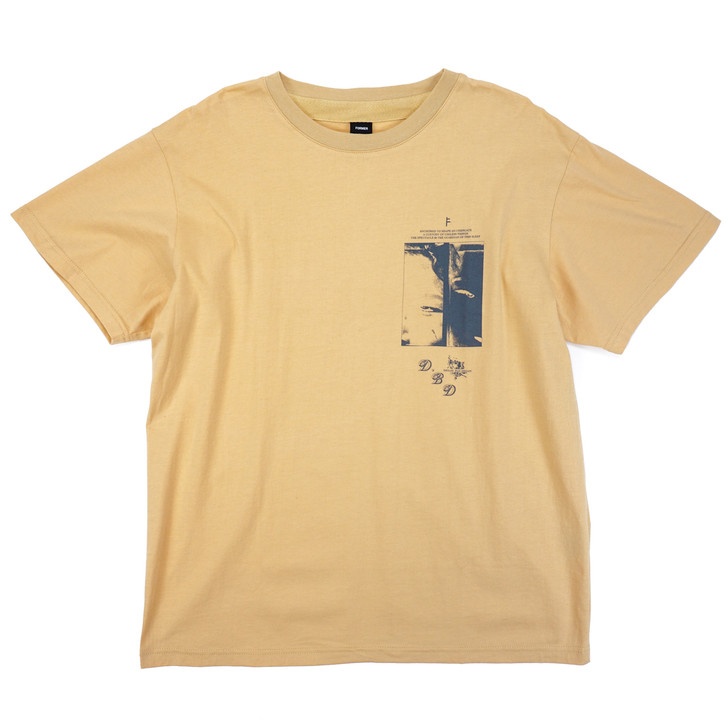 Front view of Former Dream, Bad Dream Tee in light mustard yellow with black logo on front left chest