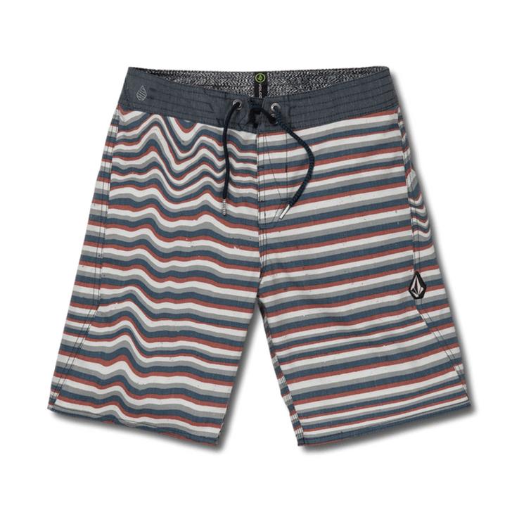 Boys Aura Stripe Boardshort - Tidal Blue