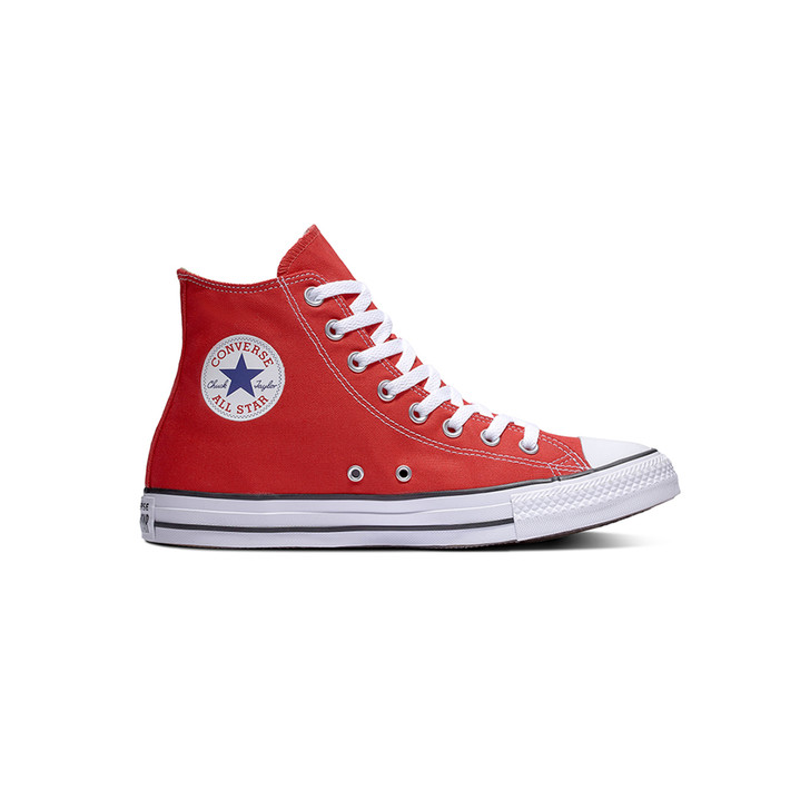Side view of Converse Chuck Taylor All Star Hi shoes in red with white logo and sole