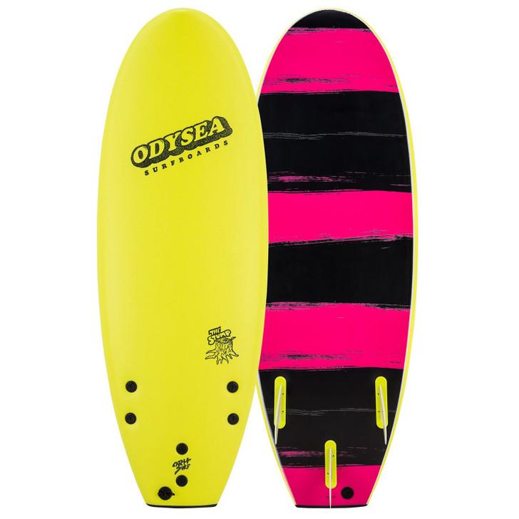 "Odysea Stump 5'0"" Thruster - Lemon / Pink Stripes"