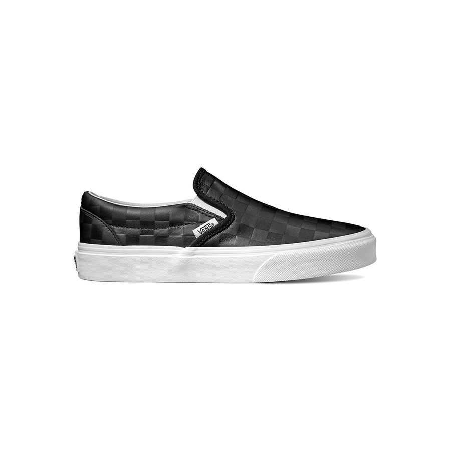 Classic Slip-On (Leather) - Checkers/Black