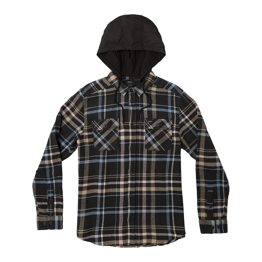 Essex Plaid LS Hooded Woven - RVCA Black