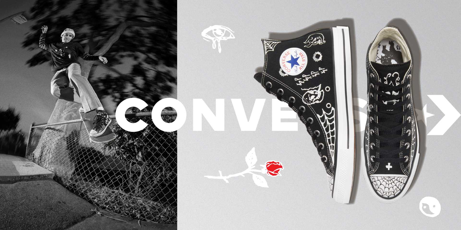 Converse Sean Pablo CTAS Pro - Black White White color, side profile view and top view with various drawn doodles on shoe.
