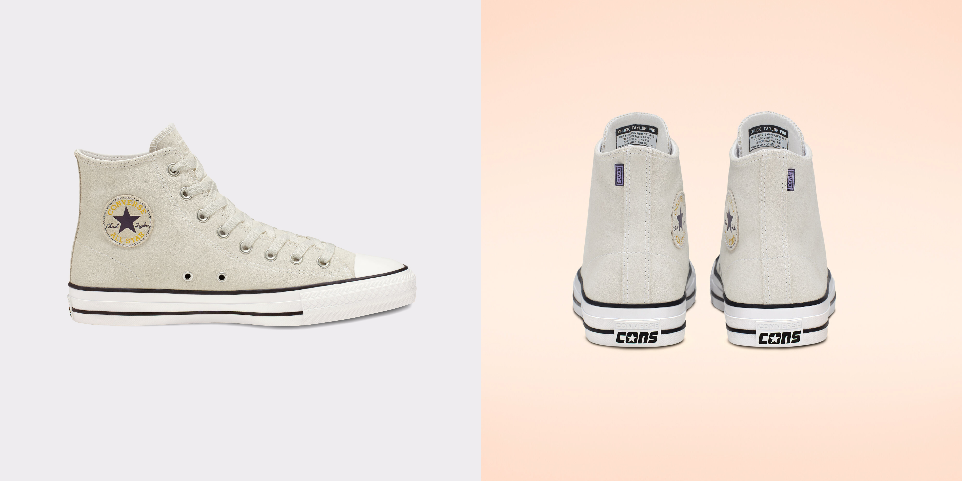 Converse CTAS Pro Hi Vintage - Cream color, side profile view and back view