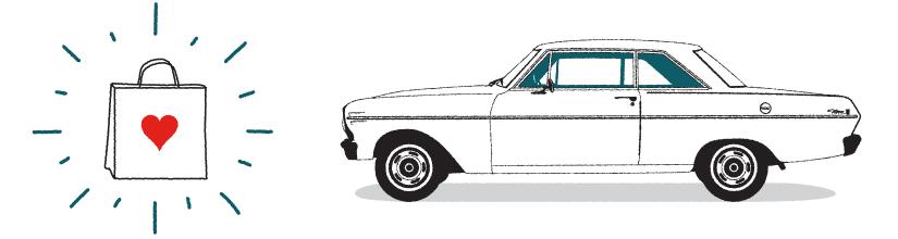 illustration of shopping bag and vintage car