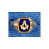 Square & Compass Blue Square Cushion Ring