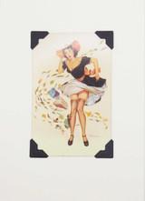 Lady in Breeze Vintage Card