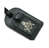 Square and Compass Leather Luggage Tag