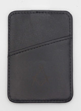 Black Leather Square & Compass Credit Card Holder