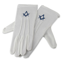 Men's Square & Compass Motif Cotton Gloves