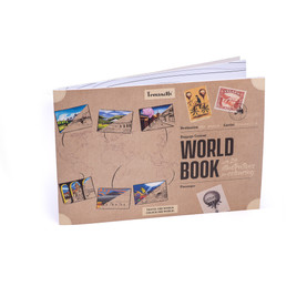 WORLD BOOK FOR COLOURING high quality 100% recycled paper, 24 illustrations exclusively hand-drawn for Trouvaille. Made in Europe.  Travel the World. Colour the World.