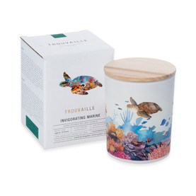Trouvaille Global | Save The Planet Scented Soy Candle | Invigorating Marine w packaging