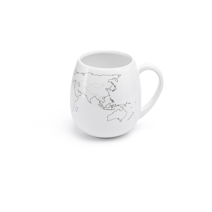 WORLDMUG high quality ceramic mug with world map and colouring pen. Dishwasher and Microwave safe. Made in Europe. Registered design by Trouvaille™  Travel the World. Colour the World.