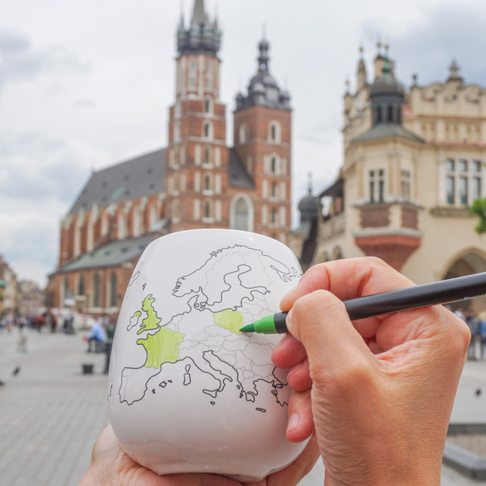 EUROPEMUG high quality ceramic mug with Europe map and colouring pen.  Dishwasher and Microwave safe. Made in Europe.  Registered design by Trouvaille™  Travel the World. Colour the World.
