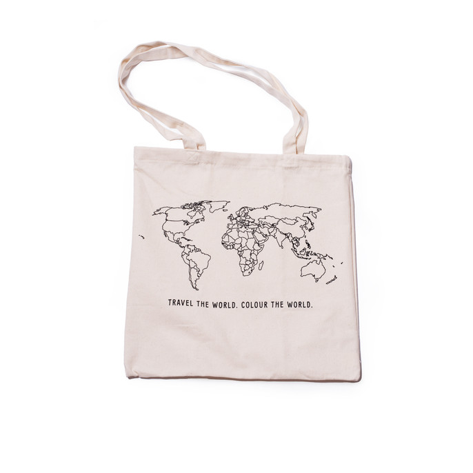 WORLDTOTE high quality 100% cotton tote bag with map and colouring textile pen.  Made in Europe.  Registered design by Trouvaille™  Travel the World. Colour the World.