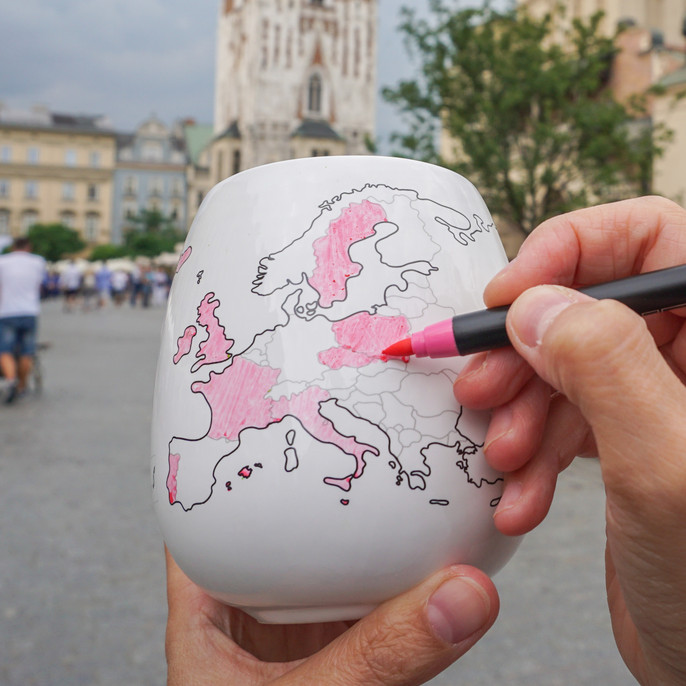 Add some pink to your map! Trouvaille™ Travel the World. Colour the World.