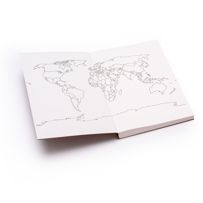 WORLDJOURNAL high quality 100% recycled paper, letterpress biodegradable cover, 206 high quality blank pages plus double-paged colouring map. Made in Europe.  Travel the World. Colour the World.