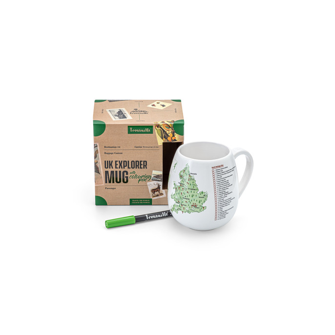 UKMUG high quality ceramic mug with UK map and colouring pen. Dishwasher and Microwave safe. Made in Europe. Registered design by Trouvaille™  Travel the World. Colour the World.
