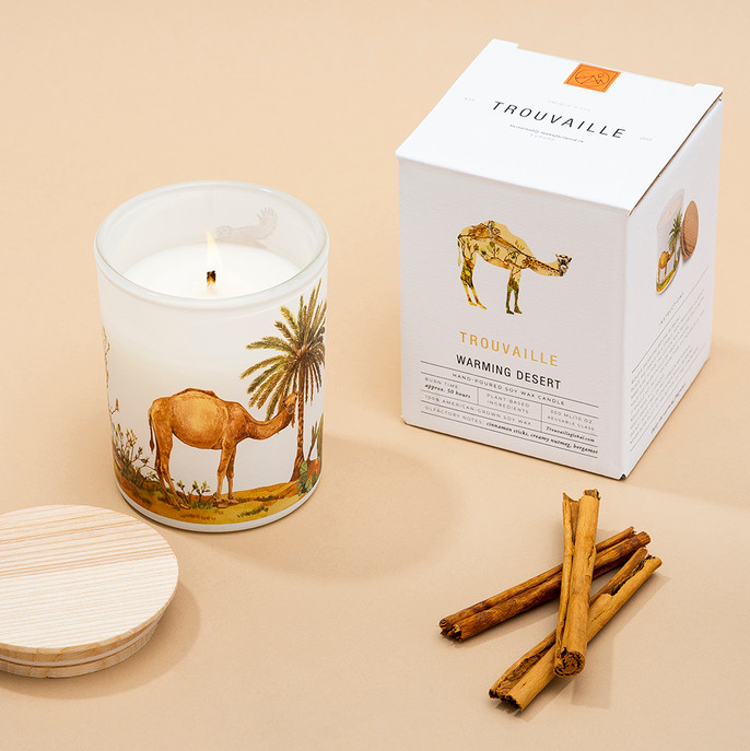 Trouvaille Global   Save The Planet Scented Soy Candle   Warming Desert w packaging lifestyle