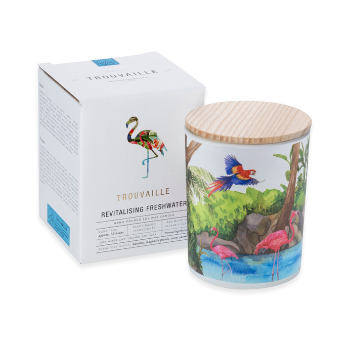 Trouvaille Global | Save The Planet Scented Soy Candle | Revitalising Freshwater w packaging