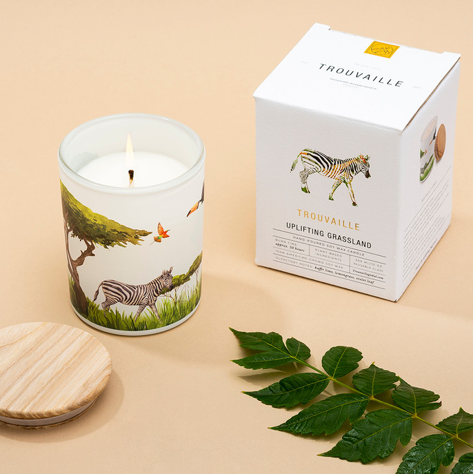 Trouvaille Global   Save The Planet Scented Soy Candle   Uplifting Grassland w packaging lifestyle