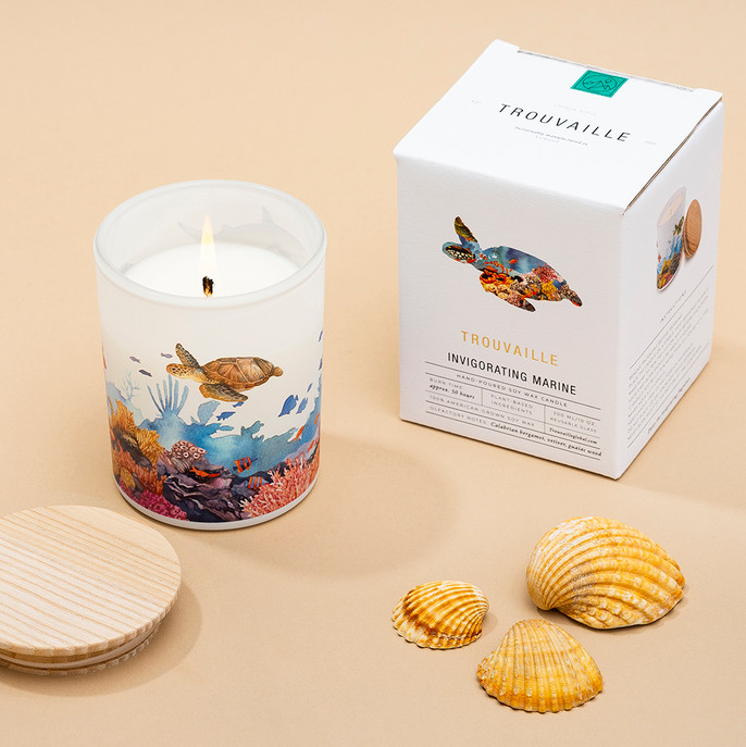 Trouvaille Global   Save The Planet Scented Soy Candle   Invigorating Marine w packaging lifestyle