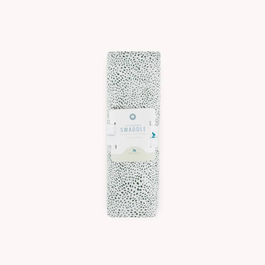 Single Cotton Muslin Swaddle - Green Seed