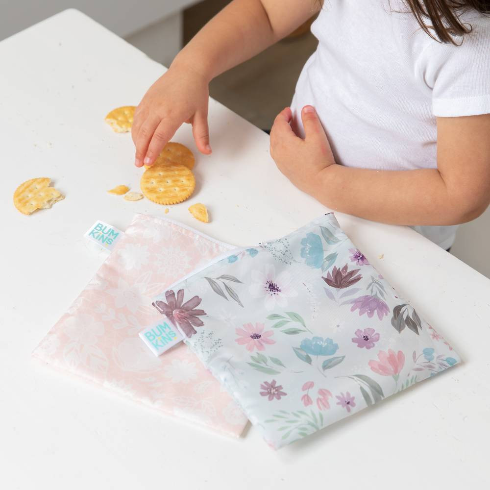 Bumkins Large Snack Bag 2pk - Floral & Lace