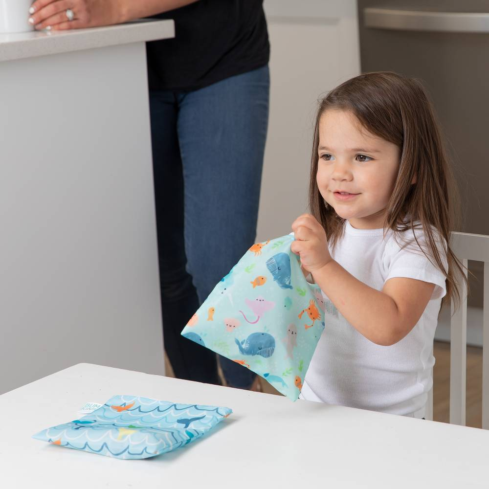 Bumkins Large Snack Bag 2pk - Rolling with the waves