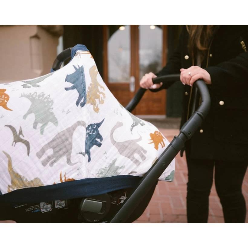 Muslin Car Seat Canopy V2 - Dino Friends