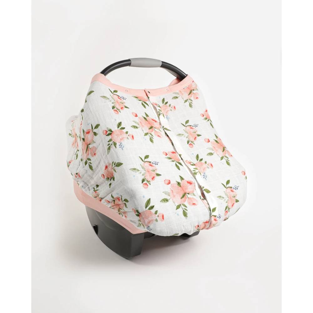 Muslin Car Seat Canopy V2 - Watercolour Roses