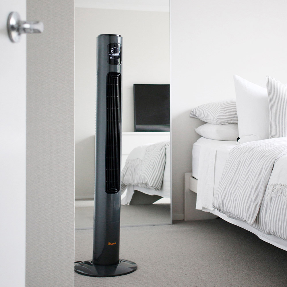 Crane Tower Fan with 12 hour timer (116 cm) - Charcoal