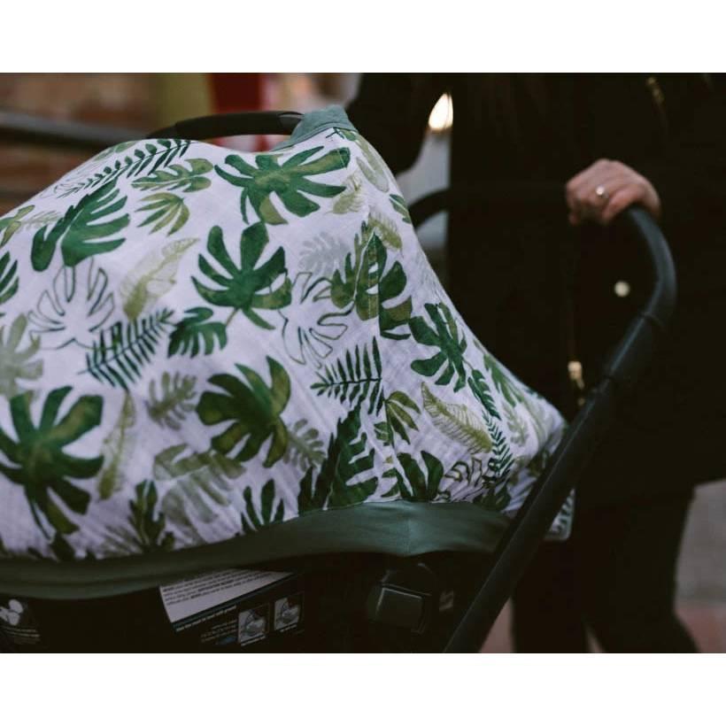 Muslin Car Seat Canopy V2 - Tropical Leaf