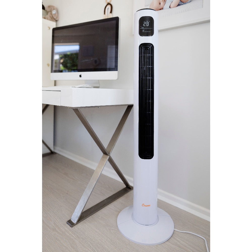 Crane Tower Fan with 12 hour timer (116 cm) - White
