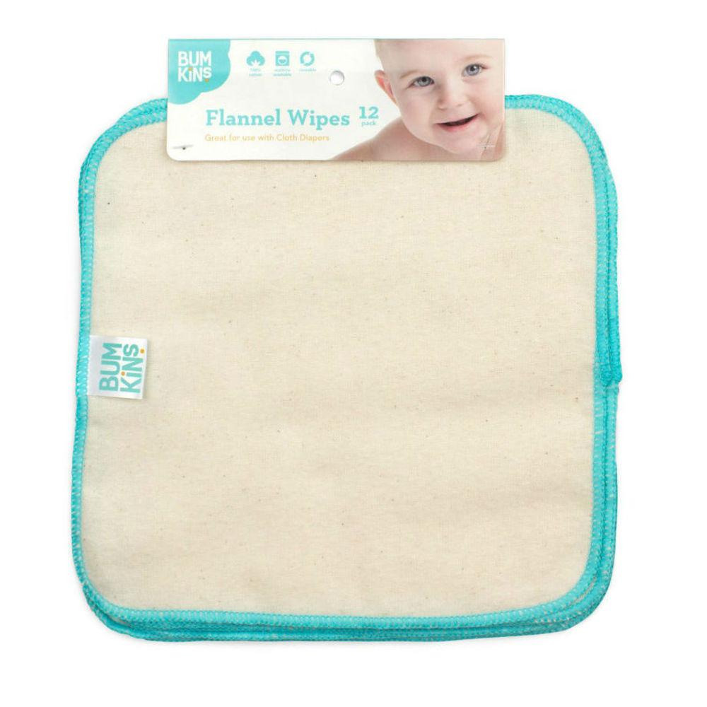 Reusable Baby Wipes - Natural/Aqua Trim