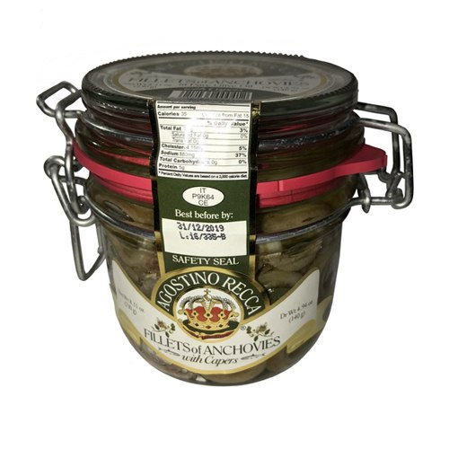 Agostino Recca Fillets of Anchovies With Capers in Pure Olive Oil - 8.11oz