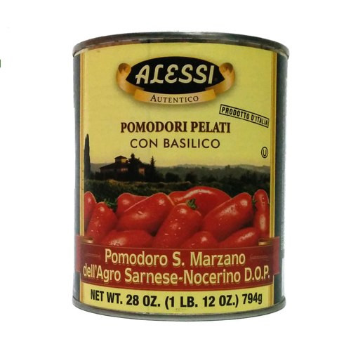 Alessi D.O.P. Whole Peeled San Marzano Tomatoes with Basil - 28oz (Pack of 12)