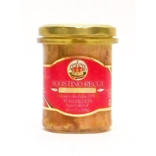 Agostino Recca Yellowfin Tuna Fillets (Filetti di Tonno) in Pure Olive Oil - 7oz (Pack of 4)